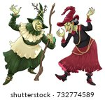 couple of witches for halloween.... | Shutterstock .eps vector #732774589