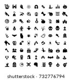 halloween icons set  isolated...   Shutterstock .eps vector #732776794