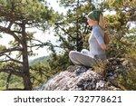 meditation  woman in lotus...   Shutterstock . vector #732778621