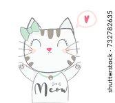 Stock vector cute cat 732782635