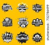 set of happy halloween black...