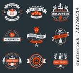 set of happy halloween badges... | Shutterstock .eps vector #732786514
