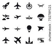 16 vector icon set   rocket ... | Shutterstock .eps vector #732789121