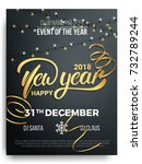 new year party poster design.... | Shutterstock .eps vector #732789244