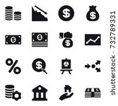 16 vector icon set   coin stack ... | Shutterstock .eps vector #732789331