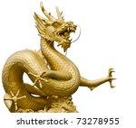 Golden Gragon Statue In White...