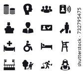 16 vector icon set   coin stack ... | Shutterstock .eps vector #732795475