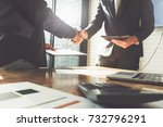 business partnership meeting... | Shutterstock . vector #732796291