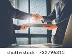 business partnership meeting... | Shutterstock . vector #732796315