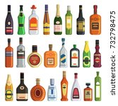 different alcoholic drinks in... | Shutterstock .eps vector #732798475