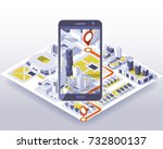 mobile gps and tracking concept.... | Shutterstock .eps vector #732800137