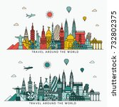 travel and tourism background.... | Shutterstock .eps vector #732802375