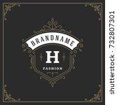 ornament monogram logo design... | Shutterstock .eps vector #732807301