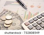 pen  calculator  money  graph... | Shutterstock . vector #732808549