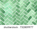 watercolor herringbone green... | Shutterstock . vector #732809977