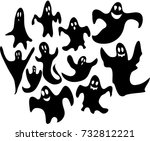 halloween ghosts on white... | Shutterstock .eps vector #732812221