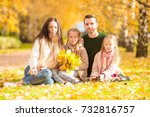 young family with cute little... | Shutterstock . vector #732816757