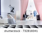 fashionable bedroom with poster ... | Shutterstock . vector #732818341