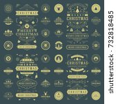 christmas labels and badges... | Shutterstock .eps vector #732818485