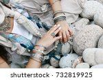 close up of boho styled woman... | Shutterstock . vector #732819925
