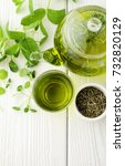 healthy green tea cup with tea... | Shutterstock . vector #732820129