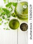 healthy green tea cup with tea