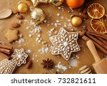 christmas gingerbread and... | Shutterstock . vector #732821611