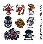 mushroom hand drawn logo set.... | Shutterstock .eps vector #732825229