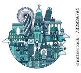 europe detailed famous... | Shutterstock .eps vector #732826765