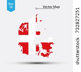 simple map of denmark with flag ... | Shutterstock .eps vector #732827251
