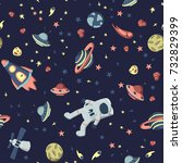 seamless pattern on the theme... | Shutterstock . vector #732829399
