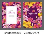 beautiful pink and yellow... | Shutterstock .eps vector #732829975