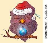 dormant new year's owl. merry... | Shutterstock .eps vector #732833455