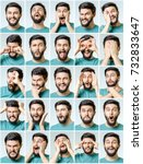 set of young man's portraits... | Shutterstock . vector #732833647