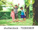 happy asian brother and two... | Shutterstock . vector #732833839