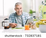 smiling handsome man having... | Shutterstock . vector #732837181