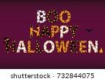 boo happy halloween lettering.... | Shutterstock .eps vector #732844075