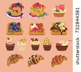 set with tasty sweets products...   Shutterstock . vector #732844381
