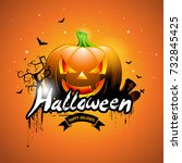 happy halloween  illustration... | Shutterstock . vector #732845425