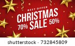 christmas sale banner design.... | Shutterstock .eps vector #732845809