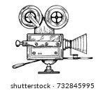 old movie camera engraving...   Shutterstock .eps vector #732845995