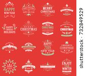 set of merry christmas and... | Shutterstock .eps vector #732849529
