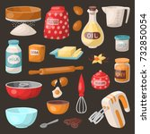 baking pastry prepare cooking... | Shutterstock .eps vector #732850054