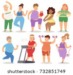 fat people doing exercise... | Shutterstock .eps vector #732851749