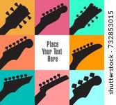 eight guitar headstocks frame...   Shutterstock . vector #732853015