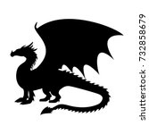 dragon fantastic silhouette... | Shutterstock .eps vector #732858679