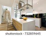 modern open plan kitchen area... | Shutterstock . vector #732859645