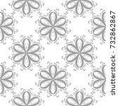 gray floral pattern on white.... | Shutterstock .eps vector #732862867
