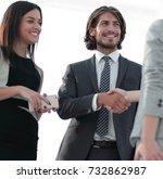 businesspeople  shaking hands... | Shutterstock . vector #732862987
