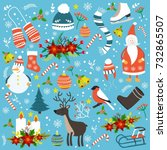 christmas hand drawn seamless... | Shutterstock .eps vector #732865507